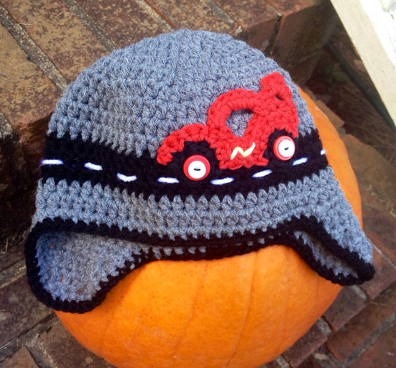 Crochet Race Car Hat With Earflaps By Simplysophistikated