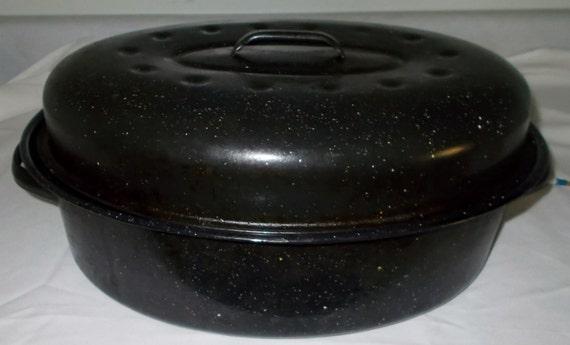Blue Graniteware Roaster Vintage Enamelware Roasting Pan Large