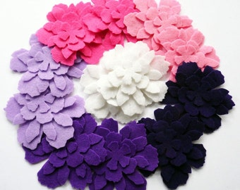 Felt Flower FRAMBUESA, set of 48 pieces