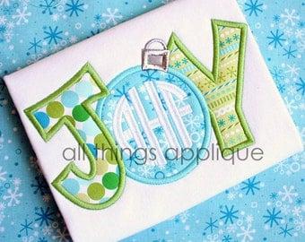Joy Ornament Applique Design - 4 Sizes - INSTANT DOWNLOAD