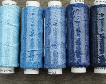 Five spools of linen thread - blues