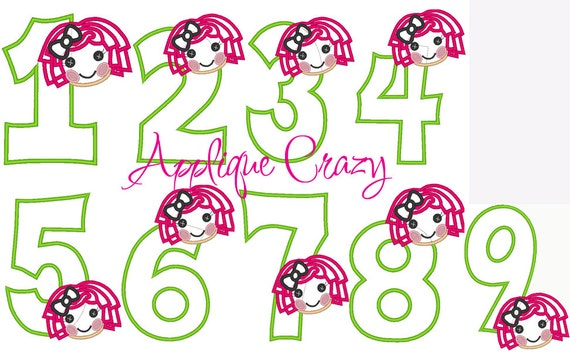 Doll Face Applique Numbers 1-9