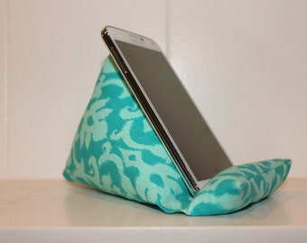 iCliner - Fabric Phone Stand or Holder - iPod Stand - MP3 Stand - turquoise damask,  gift, iPhone, smart phone, girl, green, modern