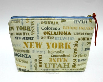 50 States medium zippered bag, Make up bag, travel bag with suede zipper  pull. Lined with Kona cotton.  No raw edges.