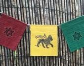 Rasta Prayer Flags, red gold and green Lion of Judah Star of David - Rastafari Lives