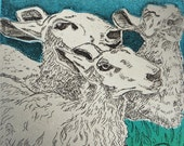Etching and Woodblock Print:  Sheep