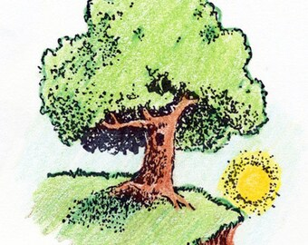 Tree with Sunset Rubber Stamp