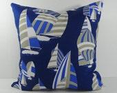 Nautical Designer Pillow Cover, Robert Allen Fabrics, Sailboat Throw Pillow Cushion, 20 x 20, Blue, Navy Blue