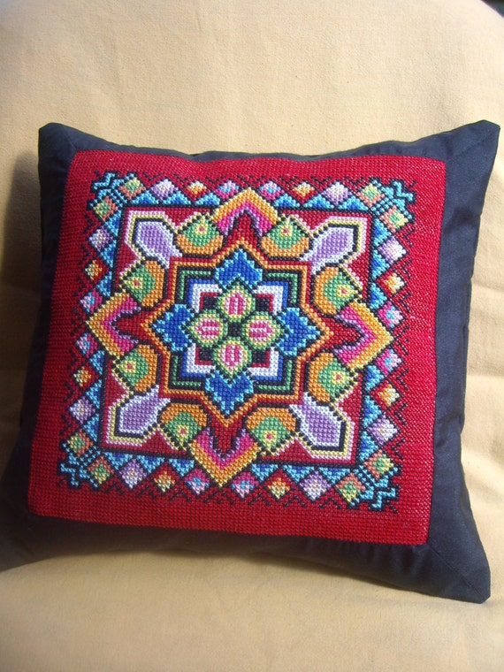 Cute Handmade Pillow Covers : Items similar to Hand Embroidered Pillow...Handmade Pillow Cushion...Multicolor Pillow Cover ...