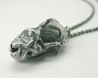 Bat Skull Necklace Taphozous Bat, Sterling Silver