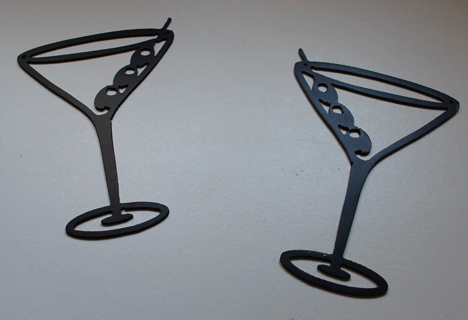 Martini Glass Wall Sconces : Martini Glasses Metal Wall Art Decor Set by HEAVENSGATEMETALWORK