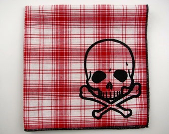 Hankie- SKULL and CROSSBONES on super soft RED plaid cotton Hanky-or choose from white or any solid colors or plaids shown in pics