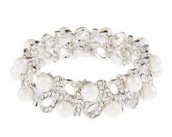 Alana Pearl and Rhinestone Bracelet, Wedding Bracelet