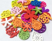 50pcs Assorted Colors and Charms Wooden Charms Leaf, Water Drop, Flowers 25mm HD43