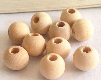 100pcs Natural Wooden Bead, Natural Color 10mm HD43