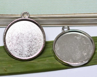 Cabochon Base Settings -20pcs Antique Silver Round Cameo Charm Pendants 18mm AA103-5
