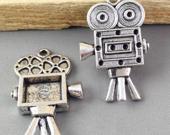 Film Recorder -10pcs Antique Silver Old Tripod Movie Film Recorder Robot Charm Pendants 25x40mm AB303-4