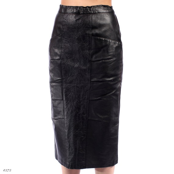 leather pencil skirt black 1990s midi mid calf by
