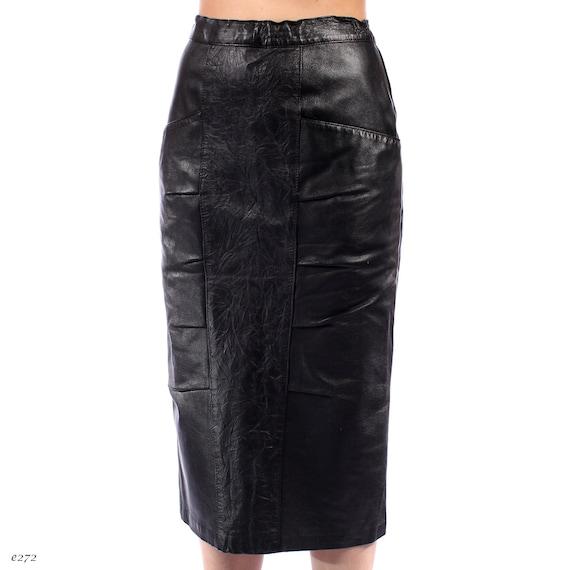 leather pencil skirt black 1990s midi mid calf narrow panel