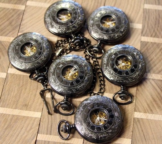 6 groomsmen gifts classic pocket watches with by schimmelsshop