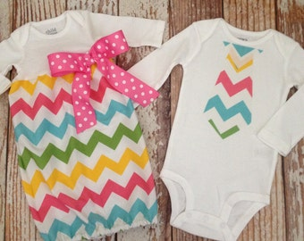 Baby Gift Set - Twins - Brother Sister - Easter Chevron