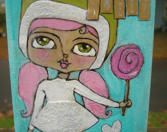Cute Winter Girl mixed media on upcycled wood block