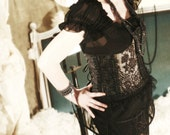 Black and grey underbust cincher type for romantic or goth women MiLunaire
