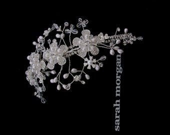 Vintage style bridal headpiece or side tiara - Flora