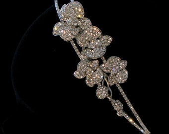 Vintage style bridal headpiece or side tiara - Orchis