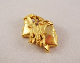 Vintage Two Faces Gold Tone Pin