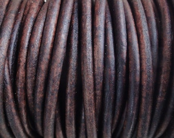 3mm Leather Cord - Antique Brown Distressed Leather Cord Round Natural Dye - 2 Yard Increments