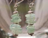 Green Glass Earrings - Lime Green Earrings - Glass Chip Earrings - Green Silver Earrings - Silver Green Earrings - Green Dangle Earrings