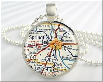 Springfield Map Pendant Charm Springfield Ohio Travel Necklace Resin Picture Jewelry (673RS)