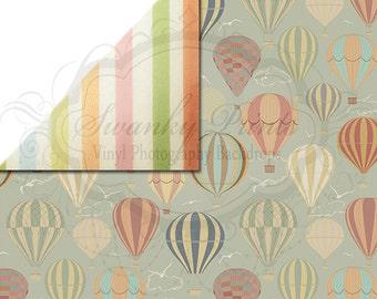 NEW ITEM / 5ft x 5ft REVERSIBLE Vinyl Backdrop / Double sided / Light Rainbow Stripes Hot Air Balloons