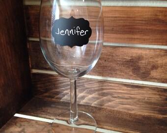 Fancy chalkboard labels - set of 12- small, wine glass size