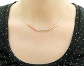 Sterling silver chain necklace with brass, copper and aluminium tubes from Camillette