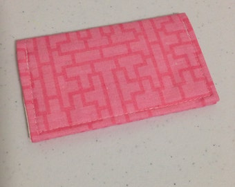 Peachy Pink Geo Squares Business Card Holder / Gift Card Holder / Mini Wallet Case
