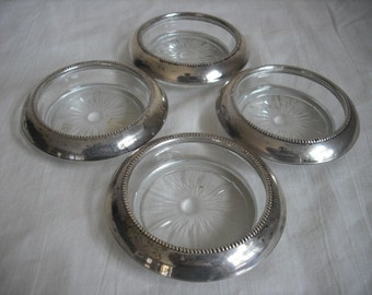 Sterling and Glass Ash trays / Coasters