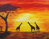African Giraffes at Sunset, Print of Acrylic Painting ( Kimberly Turnbull 2013 )