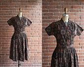 Vintage 1960s Sunset Kalidascope Dress / 60s cotton day dress / Small S