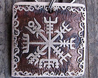 Viking Compass Pet Tag, Vegvisir Etched Brass, Full Design - 1.25 inch Square