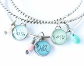 Bangle Bracelet with Personalized Charms