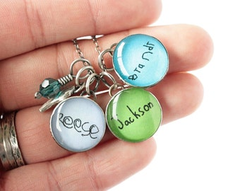 Handwriting, Silhouette or Name Necklace for Mom with Three Charms