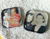 SMALL SQUARE sized custom photo necklace with glass pendant and silver plated chain