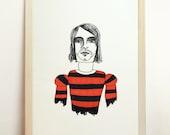 Kurt Cobain Art Giclee - Print Poster Wall Illustration Drawing - A4 - 8.3 x 11.7 in - 210 x 297 mm - Prints Shop
