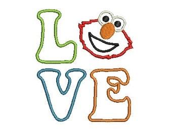 Elmo Applique,  Machine Embroidery Pattern, Sesame Street, Embroidery Applique, Elmo (208) Instant Download