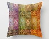 Bohemian Pillow Case, Bollywood Cushion, Ethnic Home Decor, Colorful, Sari Fabric, India, Travel, Gypsy Home Decor, Boho, Earth Colours