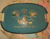 Vintage Washington DC Souvenir Tray  in Mint Condition, Pressed Teal Painted Board with Silk Screen Prints of historical landmarks