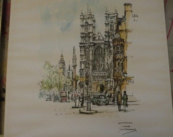 Vintage 1965 Westminster Lithographic Print from a painting by Jan V. Corthals of the famous Cathedral in Original Frame in Good Condition