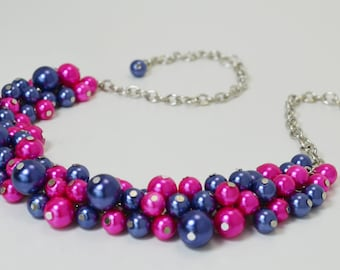 Pearl Necklace, Navy and Hot Pink Cluster Necklace, Cluster Necklace, Chunky Necklace, Bridal Jewelry, Wedding Necklace, Hot Pink Necklace
